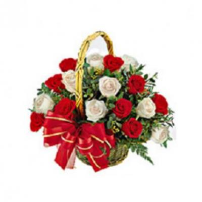 Red & White Roses Basket