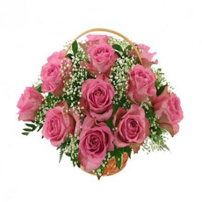 Pink Roses Basket