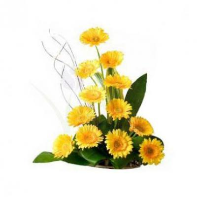 Yellow Gerbera Basket