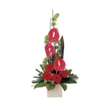Anthurium & Gerbera Vase