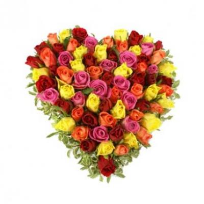 Mix Roses Heart Arrangement