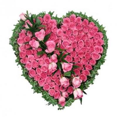 Pink Roses Heart Arrangement