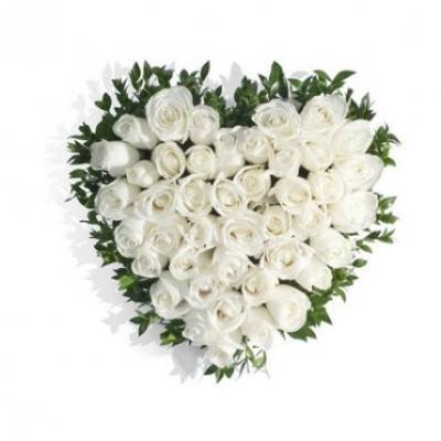 White Roses Heart