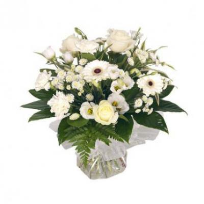 White Mixed Flowers Vase