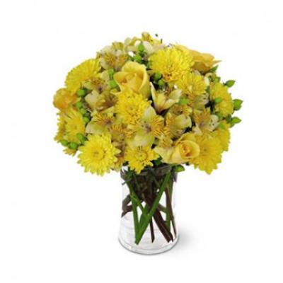 Yellow Mixed Flower Vase
