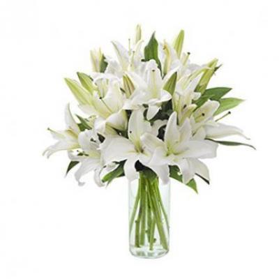 White Lily Vase