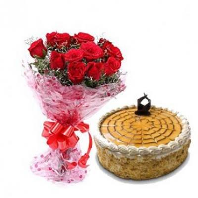 Red Roses With Butter Scotch Cake
