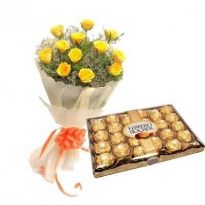 Ferrero Rocher With Yellow Roses