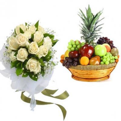 White Roses With Fruit Basket