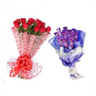 Red Roses With Dairy Milk Bouquet