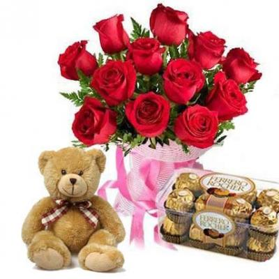 Roses, Teddy With Ferrero Rocher
