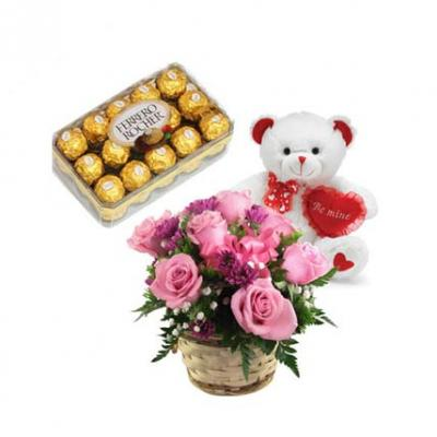 Pink Roses, Teddy With Chocolate