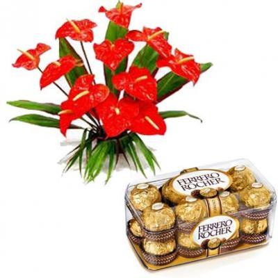 Anthurium With Ferrero Rocher
