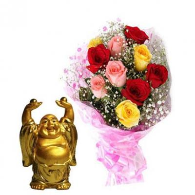 Mixed Roses With Laughing Buddha