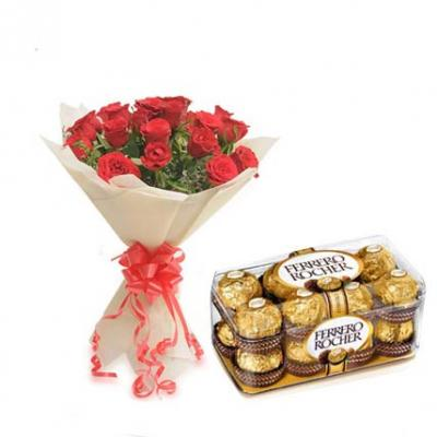 Red Roses With Ferrero Rocher