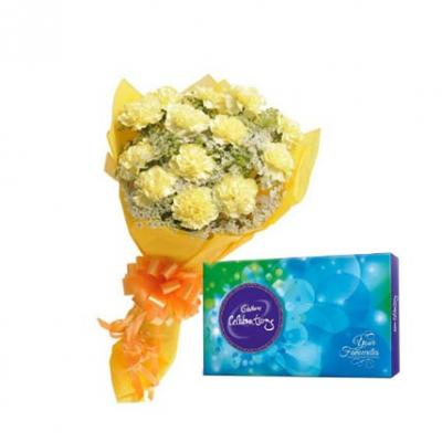 Yellow Carnation With Cadbury Celebration