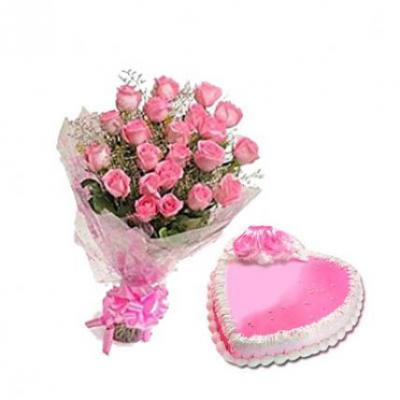 Pink Roses With Heart Shape Strawberry Cake