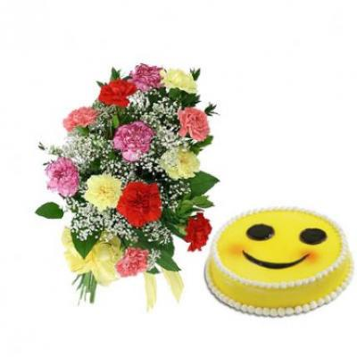 Carnations With Smiley Cake
