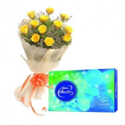 Yellow Roses With Cadbury Celebration