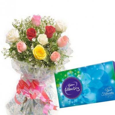 Mixed Roses With Cadbury Celebration