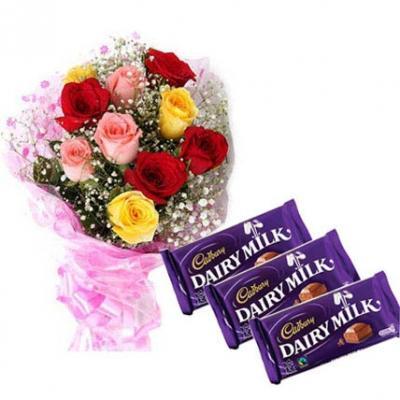 Mix Roses With Cadbury Dairy Milk
