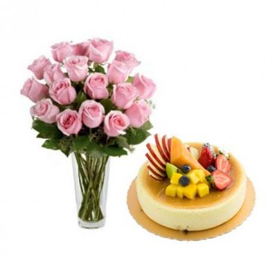 Pink Roses With Fresh Fruit Cake