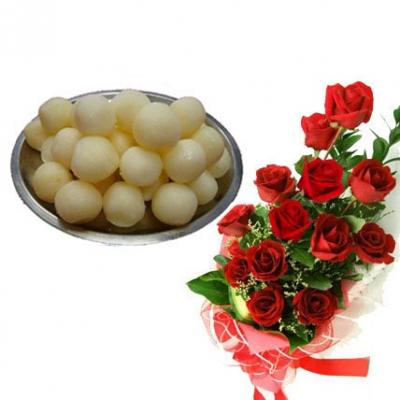 Red Roses With Rasgulla
