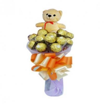Ferrero Bouquet With Cute Teddy