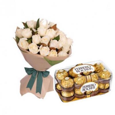 White Roses With Ferrero Rocher