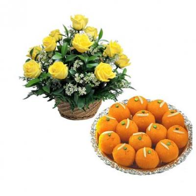 Yellow Roses Basket With Laddu