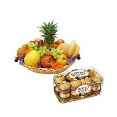 Fresh Fruits Basket With Ferrero Rocher