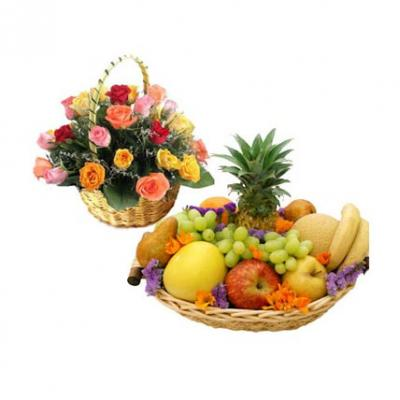 Fresh Fruits With Mixed Roses