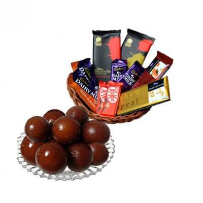 Gulab Jamun With Chocolates Basket