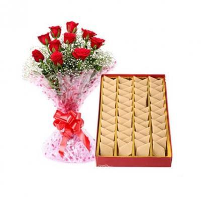 Kaju Burfi With Red Roses