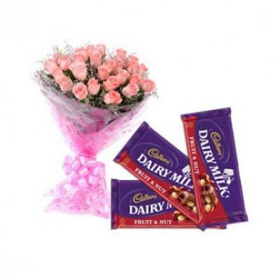 Pink Roses With Cadbury Dairy Milk Fruit & Nut