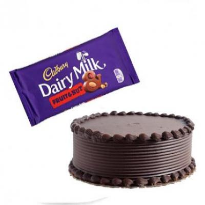 Chocolate Cake With Cadbury Dairy Milk Fruit & Nut