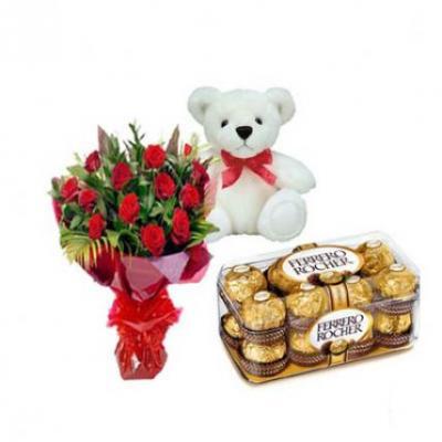 Roses, Teddy With Ferrero