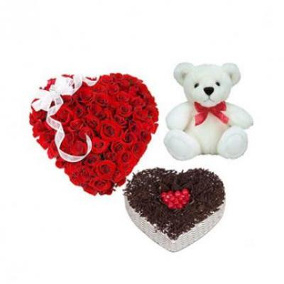 Roses Heart, Heart Shape Cake With Teddy