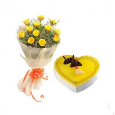 Yellow Roses With Heart Shape Pineapple Cake