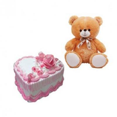 Teddy With Heart Shape Strawberry Cake