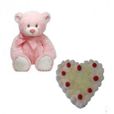 Teddy With Heart Shape White Forest Cake