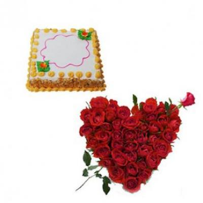 Roses Heart With Square Butter Scotch Cake