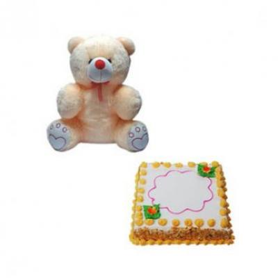 Teddy With Butter Scotch Cake Square