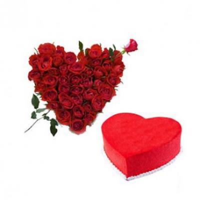 Roses Heart With Heart Shape Red Velvet Cake