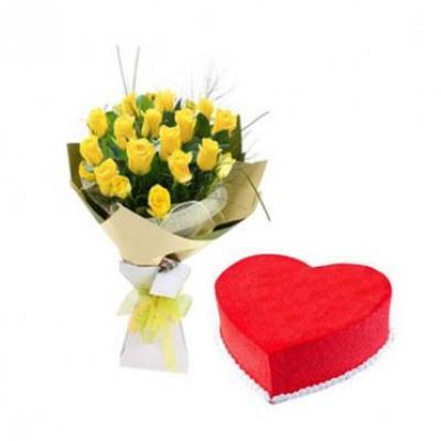 Yellow Roses With Heart Shape Red Velvet Cake