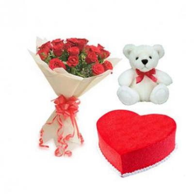 Roses, Teddy With Red Velvet Cake