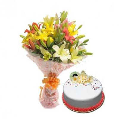 Mix Lilies With Vanilla Cake