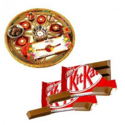 Rakhi Thali With Kitkat Chocolates