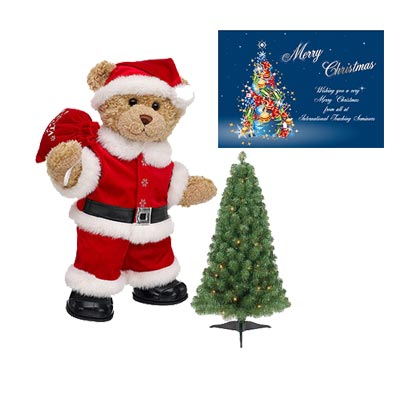 Santa Claus With Tree & Greeting Card
