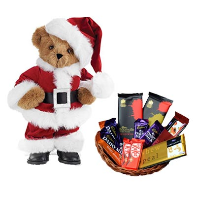 Santa Claus With Chocolate Basket